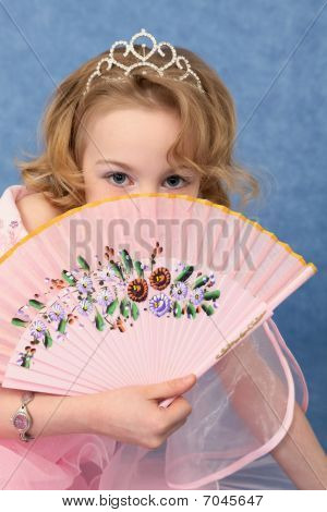Girl Coyly Covered Face With Fan