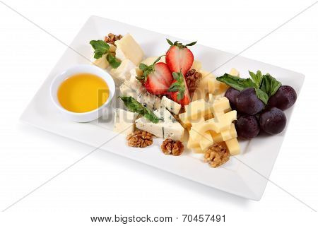 Cheese Plate, Isolated On White Background
