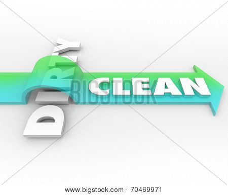 Clean word on arrow over Dirty as cleanliness and good health wins over opposite