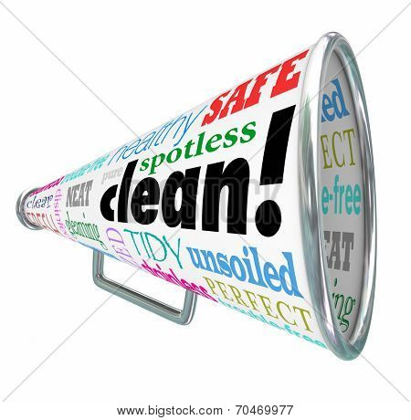 Clean word on a bullhorn or megaphone advertising your company or product has benefits like healthy, safe, spotlight, pure, tidy, sanitized, fresh, clear, disinfected, stainless and perfect