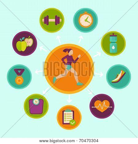 Vector Fitness Infographics Design Elements