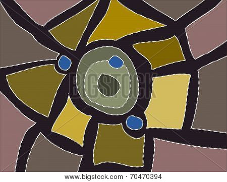 A Illustration Based On Aboriginal Style Of Dot Painting Depicting Little Town