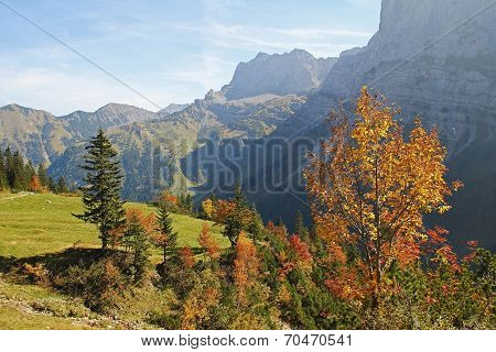 Autumnal Karwendel Valley, View To Mountain Range, Austrian Landscape