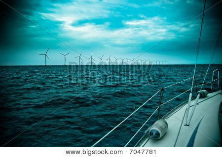 Raw Of Windmills Shot From Yacht