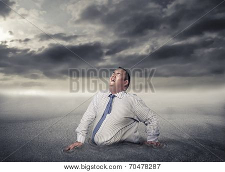 busy businessman stuck at work