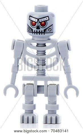 Ankara, Turkey - February 12, 2014 : Lego movie minifigure character Robo Skeleton isolated on white background.
