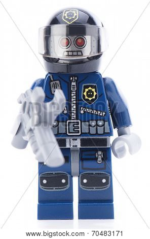 Ankara, Turkey - February 12, 2014 : Lego movie minifigure character Robo Swat isolated on white background.