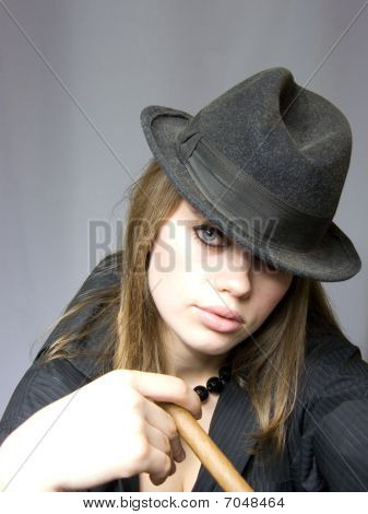 Girl With Not Set Fire Cigarette
