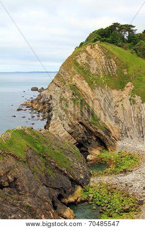 Rocky Coast Lulworth With Sediment
