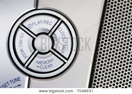 Portable CD player controls design elements close up photo poster