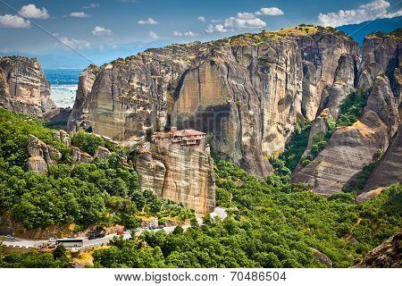 Panoramic view on Meteora monastery in Trikala, Greece.