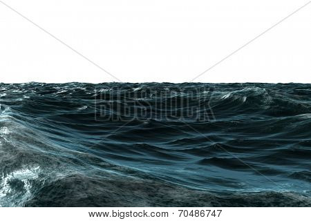 Digitally generated choppy Blue ocean on white background