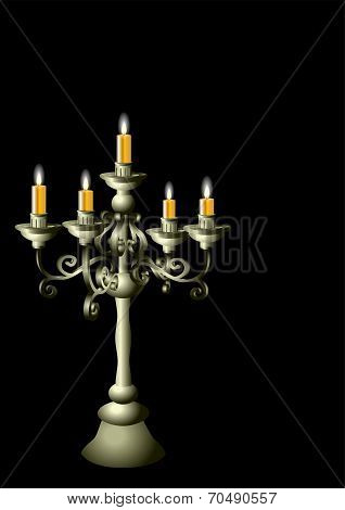 Silver Candelabrum With Cadles