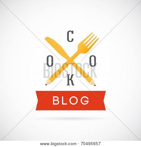 Cook Blog Vector Concept Icon or Logo Template