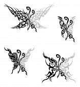 Four tattoo with abstract tribal flaming butterflies. poster