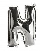 Chrome silver balloon font part of full set upper case letters,N poster