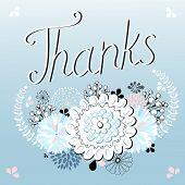 graphics card with thank you letters and flowers on a blue background poster