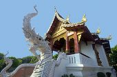 two asian naka statue beside the Thai temple stair poster