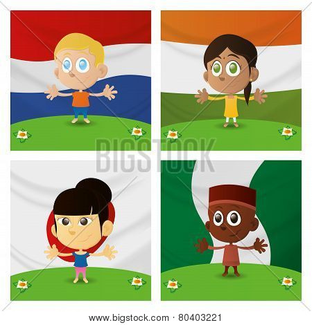 Set of four happy multicultural boys and girls on flag backgrounds