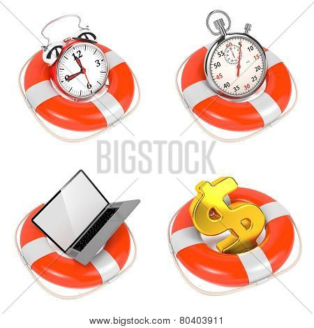 Alarmclock in Lifebuoy on White Background.