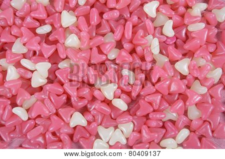 Pink And White Heart Shape Jelly Candy Confectionary Background.