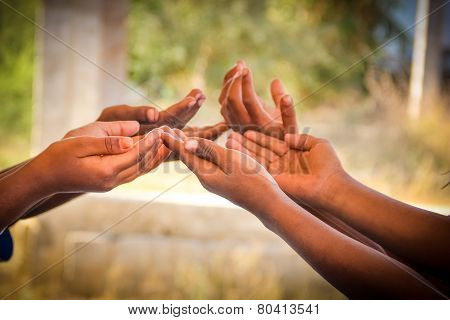 Indian Children's Hands for help