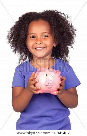 Adorable African Little Girl With Piggy-bank