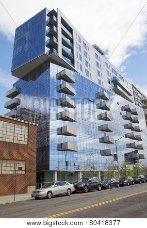 Modern condominium building in Williamsburg neighborhood of Brooklyn