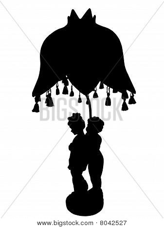 Lamp With Figurines Silhouette