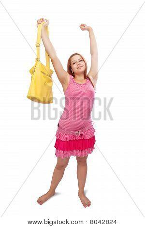 Girl  With Yellow Handbag
