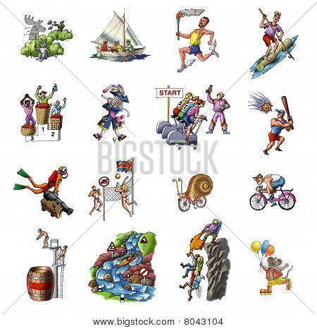 Cartoon about the various sport