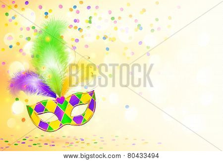 Bright Mardi Gras carnival mask poster background