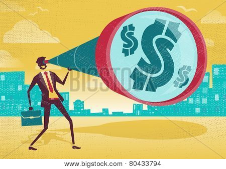 Businessman Looks Through His Telescope To Find The Dollar.