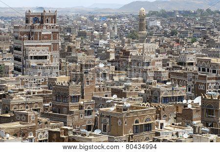 Aerial view of the Sanaa city, Sanaa, Yemen.