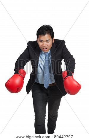 Asian Businessman Do Funny Pose With Red Boxing Gloves