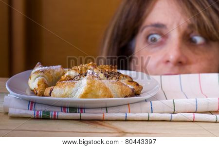 Croissants Looking From Hangry Woman