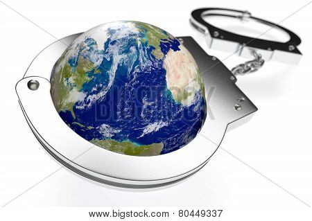 one earth globe with handcuffs concept of lack of freedom or oppression (3d render) poster