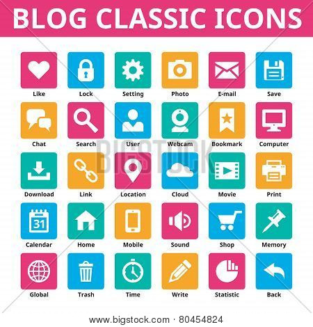 Blog classic icons. Vector icons set. Minimal icons in flat color. Social media vector icons set. De