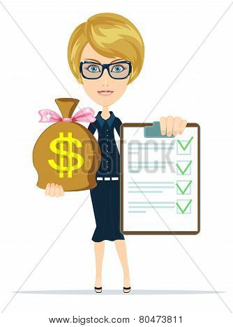 Business woman Holding a Paper With Green Flags and the Bag of Dollar, Gold Cash, Vector