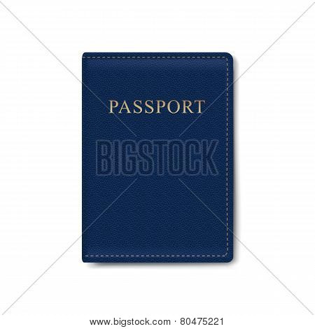 Vector Leather Cover for Passport Isolated