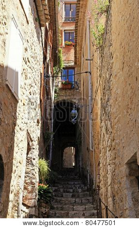 Narrow Street With Steps In Medieval Saint Paul De Vence