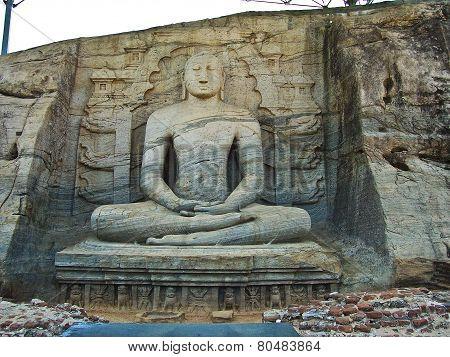 buddah in Gal Vihara in the ancient capital Polonnaruwa Sri Lanka poster