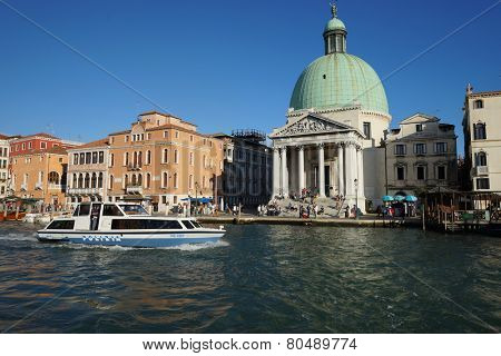 VENICE - SEP 14: Venice canal on September 14, 2014 in Venice, Italy. Venice is a city in northeastern Italy sited on a group of 118 small islands separated by canals and linked by bridges