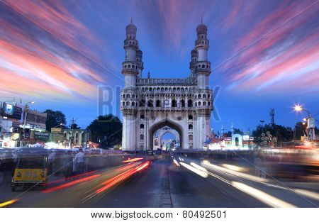 HYDERABAD,INDIA -AUGUST 29: Charminar in Hyderabad on August 29,2012, Is listed among the most recognized structures in India, Built in 1591.