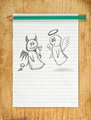 Doodle drawing of angel and devil on white paper as concept of conscience and moral dilemma in fight of good and evil. poster