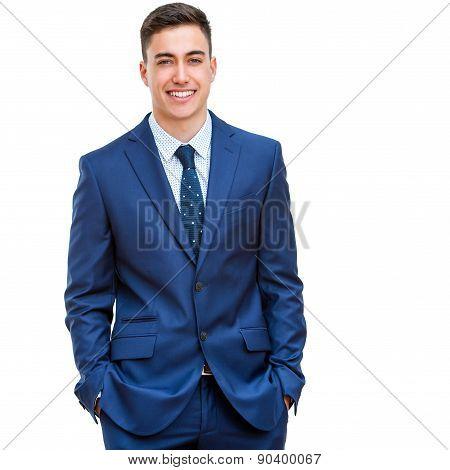 Handsome Businessman In Blue Suit.