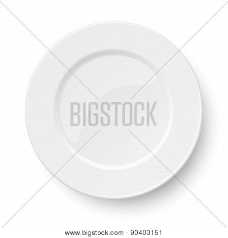 Empty Classic White Plate Isolated On White Background. View From Above.