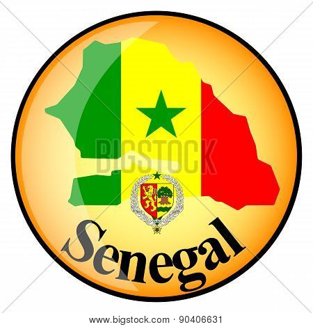 Orange Button With The Image Maps Of Senegal