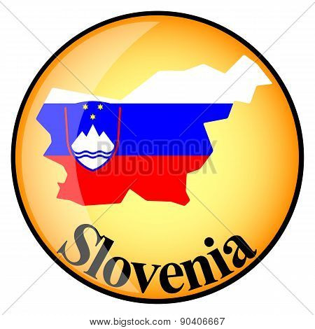 Orange Button With The Image Maps Of Slovenia