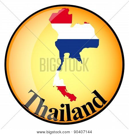 Orange Button With The Image Maps Of Thailand